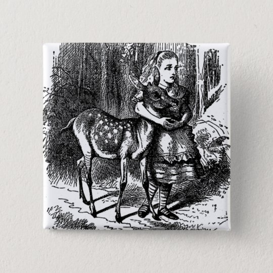 Vintage Alice in Wonderland deer fawn bambi print 15 Cm Square Badge