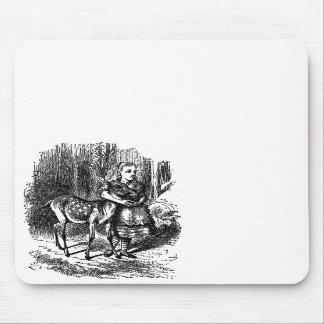 Vintage Alice in Wonderland deer fawn bambi print Mouse Pads