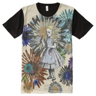 Vintage Alice in Wonderland Flower Art All-Over Print T-Shirt