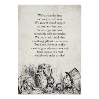 Vintage Alice in Wonderland Gift Poem Card