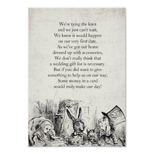 Vintage Alice In Wonderland Gift Poem Card Zazzle Co Uk