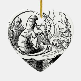 Vintage Alice in Wonderland Hookah Caterpillar Ceramic Heart Decoration
