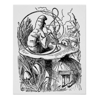 Vintage Alice in Wonderland Hookah Caterpillar Poster