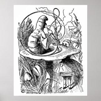 Vintage Alice in Wonderland Hookah Caterpillar Poster