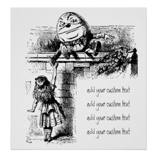 Vintage Alice in Wonderland, Humpty Dumpty on Wall Poster