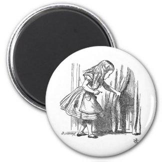 Vintage Alice in Wonderland looking for the door Fridge Magnets