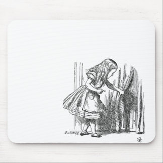 Vintage Alice in Wonderland looking for the door Mouse Pads