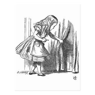 Vintage Alice in Wonderland looking for the door Postcard