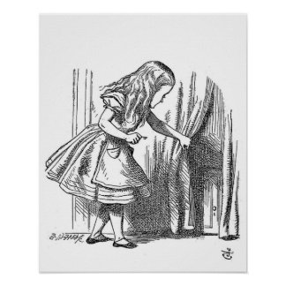 Vintage Alice in Wonderland looking for the door Poster