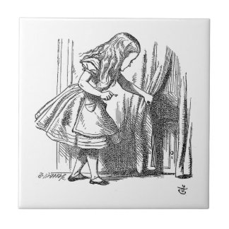 Vintage Alice in Wonderland looking for the door Small Square Tile