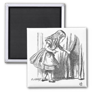 Vintage Alice in Wonderland looking for the door Square Magnet
