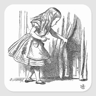 Vintage Alice in Wonderland looking for the door Square Stickers