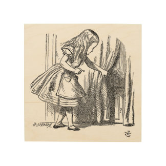 Vintage Alice in Wonderland looking for the door Wood Print