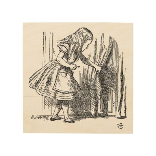 Vintage Alice in Wonderland looking for the door