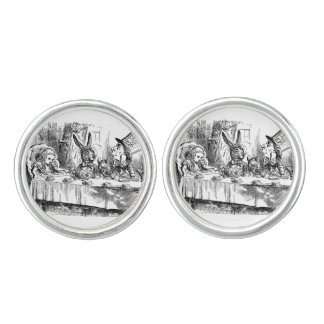 Vintage Alice in Wonderland Mad Hatter tea party Cufflinks