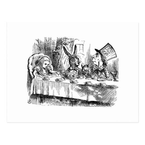 Vintage Alice in Wonderland Mad Hatter tea party Postcards