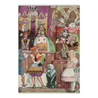 Vintage Alice in Wonderland, Queen of Hearts Poster