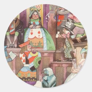 Vintage Alice in Wonderland, Queen of Hearts Round Sticker