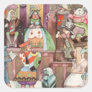 Vintage Alice in Wonderland, Queen of Hearts Square Sticker
