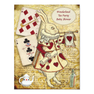 Vintage Alice in Wonderland Rabbit Baby Shower 11 Cm X 14 Cm Invitation Card