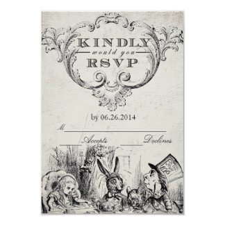Vintage Alice in Wonderland RSVP Cards 9 Cm X 13 Cm Invitation Card