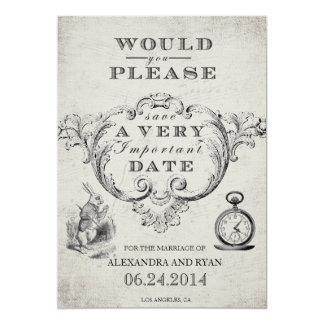 Vintage Alice in Wonderland Save the Date 13 Cm X 18 Cm Invitation Card