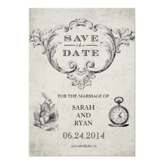 Vintage Alice in Wonderland Save the Date Card