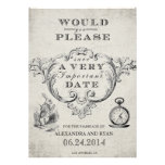 Vintage Alice in Wonderland Save the Date Invites