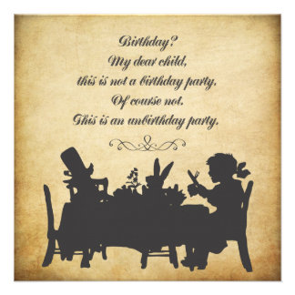 Vintage Alice in Wonderland Tea Party Birthday Personalised Announcement