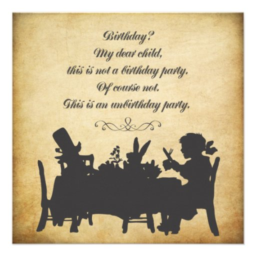 Vintage Alice in Wonderland Tea Party Birthday Invitations
