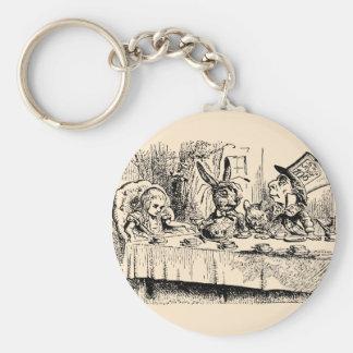 Vintage Alice in Wonderland, Tea Party Scene Basic Round Button Key Ring