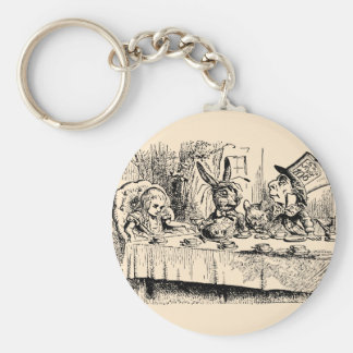 Vintage Alice in Wonderland, Tea Party Scene Key Ring