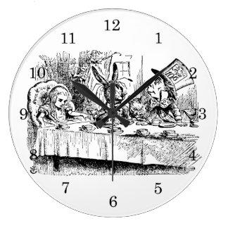 Vintage Alice in Wonderland, Tea Party Scene Large Clock