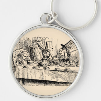 Vintage Alice in Wonderland, Tea Party Scene Silver-Colored Round Key Ring