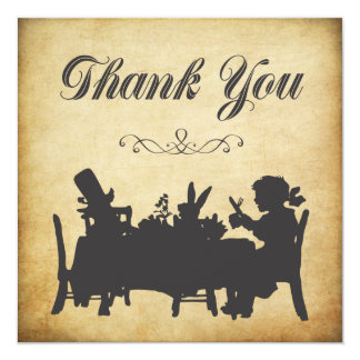 Vintage Alice in Wonderland Tea Party Thank You 13 Cm X 13 Cm Square Invitation Card