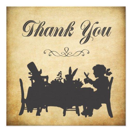 Vintage Alice in Wonderland Tea Party Thank You Custom Invitations