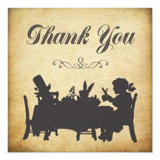 Vintage Alice in Wonderland Tea Party Thank You 13 Cm X 13 Cm Square Invitation Card