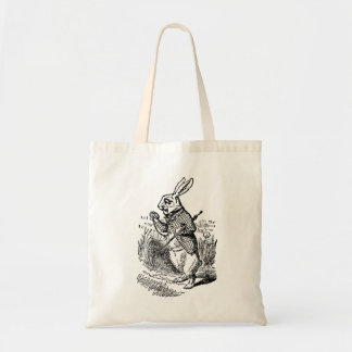Vintage Alice in Wonderland the White Rabbit Watch Budget Tote Bag