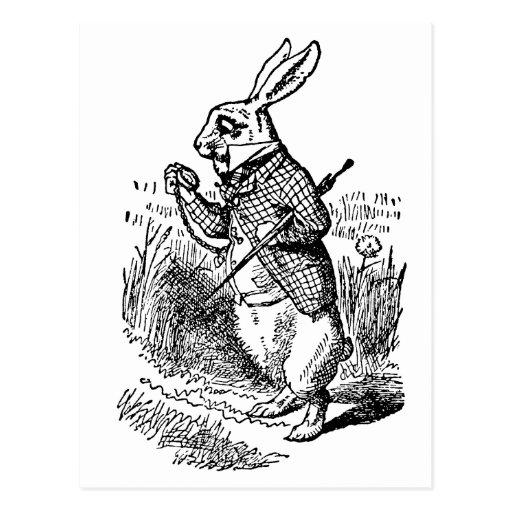 Vintage Alice in Wonderland the White Rabbit Watch Postcards
