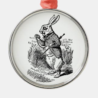 Vintage Alice in Wonderland the White Rabbit Watch Silver-Colored Round Decoration