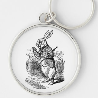 Vintage Alice in Wonderland the White Rabbit Watch Silver-Colored Round Key Ring