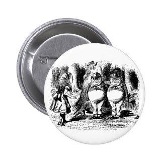 Vintage Alice in Wonderland, Tweedledum Tweedledee 6 Cm Round Badge