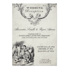 Vintage Alice in Wonderland Wedding Reception Card