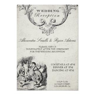 Vintage Alice in Wonderland Wedding Reception Card 13 Cm X 18 Cm Invitation Card