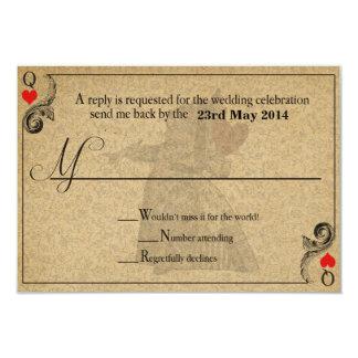 Vintage Alice in Wonderland Wedding RSVP Card 9 Cm X 13 Cm Invitation Card