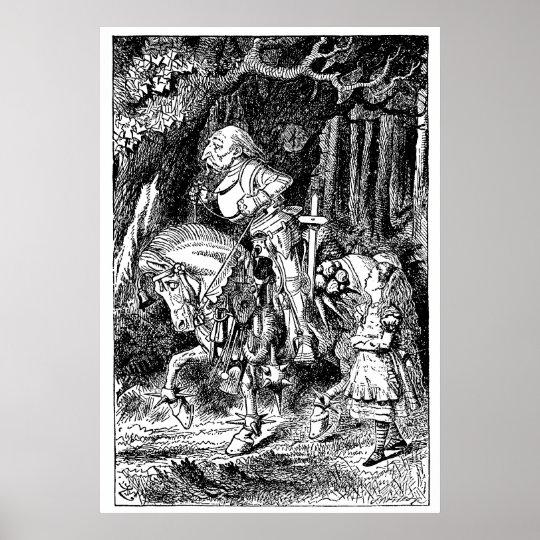 Vintage Alice in Wonderland White Knight on Horse Poster