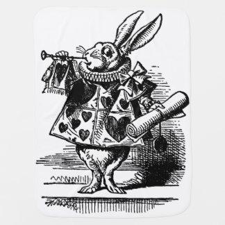 Vintage Alice in Wonderland White Rabbit as Herald Baby Blanket