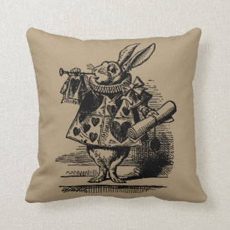 Vintage Alice in Wonderland White Rabbit as Herald Cushion