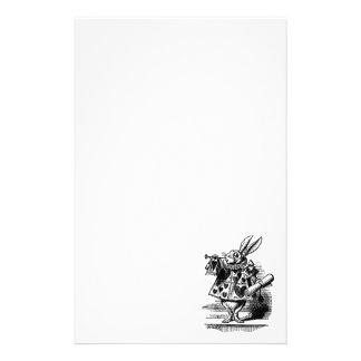 Vintage Alice in Wonderland White Rabbit as Herald Personalised Stationery