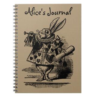 Vintage Alice in Wonderland White Rabbit as Herald Spiral Notebook